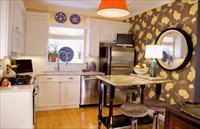 Дизайна стен на кухне с обоями