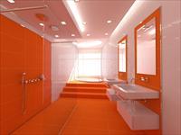 Варианты дизайна оранжевой ванной комнаты