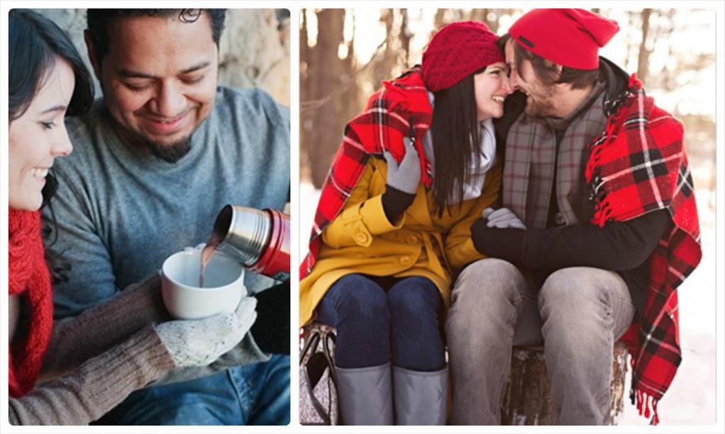 фотосессия зимой влюбленных